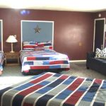 red white blue room
